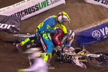 Motocross Riders Slug It Out on the Track