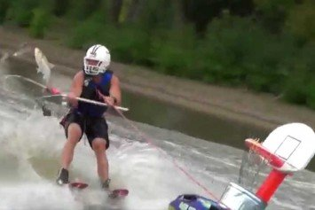 Kooky Sport of Skarping Combines Fishing and Water Skiing