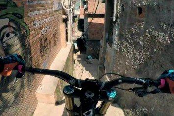 Watch This Mountain Biker Bomb a Rio Favela
