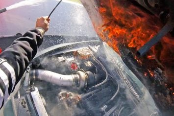 Toyota Supra Crosses Finish Line on Fire